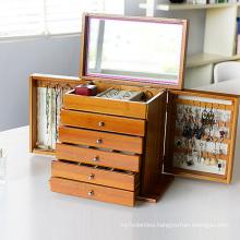 Deluxe Bamboo Jewel/Jewelry Storage Box with Mirror