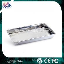 China Großhandel Rechteck Edelstahl Servierplatte, einfache Reinigung Tattoo Mayo Tablett, billige Artikel 4cm Edelstahl Tablett