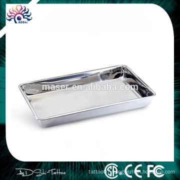 China wholesale rectangle stainless steel serving plate, easy cleaning tattoo mayo tray, cheap items 4cm stainless steel tray