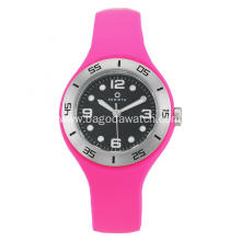 Fuchia silicone strap watch for women