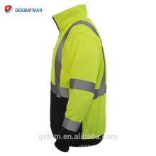 Sudadera con cuello en V de alta visibilidad y seguridad reflectante personalizada Sudadera con cuello en alto de la chaqueta con alta visibilidad ANSI Clase 3 de color amarillo para corredores y trabajadores nocturnos