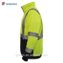 Custom Reflective Safety Hi Vis Sweatshirt Yellow ANSI Class 3 High Visibility Jacket Pullover Sweater for Night Runners/Workers