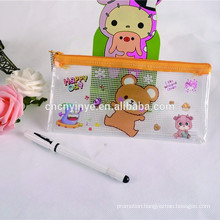 Promotional gift PVC kids pencil, plastic pen case, plastic bag with zipper, PVC bag