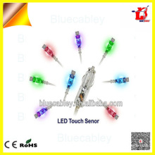 Spiral usb data cable Colorful LED Touch design Transparent home Car Charger for Samsung