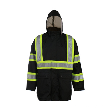 Safety Reflective Jacket Black with Hat