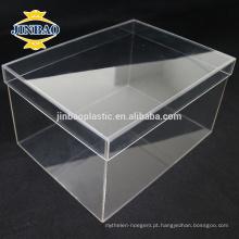 JINBAO Clear Plexiglass Sapato Vitrine fábrica Acrílico Shoe Box