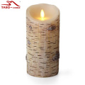 Realistis birch bark bergerak Flameless lilin
