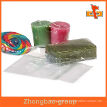 China supplier attractive transparent water proof heat sensitive customizable bule PVC film heat shrink bags for candies