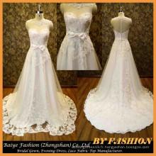 2015 Robe de mariée en cristal élégante Robe en tissu de dentelle Sweetheart Robe de mariée BYB-14615