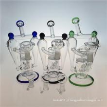Tubulação de fumo dobro do vidro do cachimbo de água do Recycler com Honeycomb Perc (ES-GB-392)