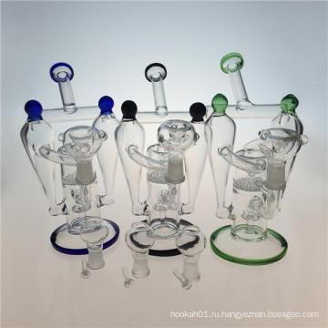 Двойной Recycler Кальян стеклянная курительная труба с сотовым Perc (ES-GB-392)