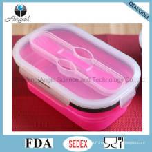 800 ml de stockage de nourriture en silicone pliante Silicone Food Box Sfb11