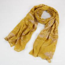 Moda Outono Long Polyester Voile Mulheres cachecol amarelo