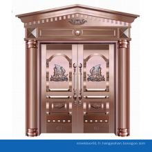 Forme de fleur porte Villa décorée de cuivre porte double extérieure