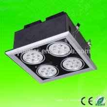 Puces épissartes à haute pression de haute qualité 85-265V AC 4 têtes 24w / 28w / 36w / 40w / 44w 48w led grille light 48w