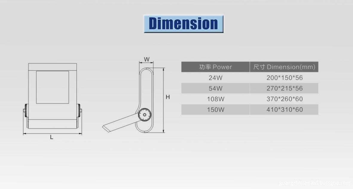 led flood light dimension