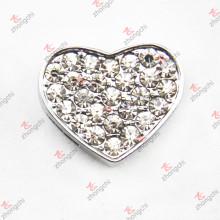 10mm Kristall Herz Schiebe Charme für Armband (JP10)