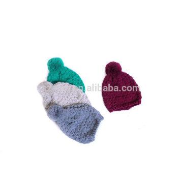 Mulheres inverno cor sólida acrílico tricô pom pom chapéu