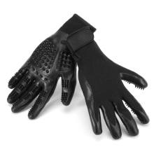 TE001 outil de brosse de bain de solvant de cheveux d'animal familier, paires noires toilettant des gants de toilettage pour le chien de chat