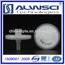 Filtro de seringa PVDF Diâmetro de 25 mm