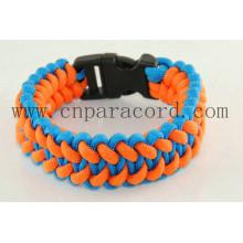 fivela de plástico laranja e azul 550 lbs pulseira paracord