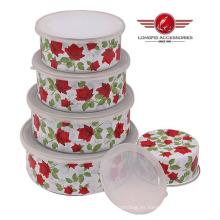 2014 Nuevo tazón de fuente del esmalte de la alta calidad del estilo con la tapa