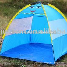 Children playing beach tent