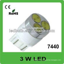 7440 3W alta potência 12V 24V levou luz automática