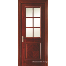 Swing Opening Painted Veneered Interior Bathroom Doors with 6 Panel Glass