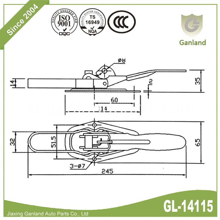 Door lock with clip over latch GL-14115