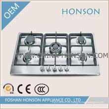 Inoxidable de acero inoxidable incorporado 5 quemadores Cocinar avellanador de gas Cocina a gas
