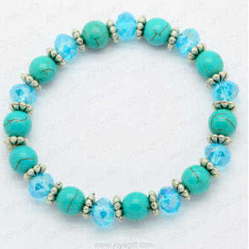 Turquoise bracelet with blue crystal