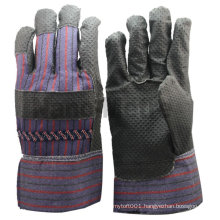 NMSAFETY Black PVC impregnated dotted palm gloves