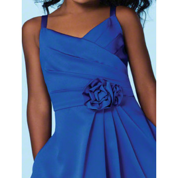 A-ligne V-cou Spaghetti Straps cheville longueur satin Flower Girl Dress