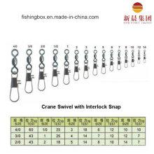 Brass Material Crane Swivel with Interlock Snap Fishing Swivel