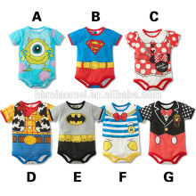 2016 top sell high quality 100% cotton cartoon baby romper wioth short sleeve