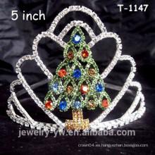 Corona de árbol de navidad de diamantes de imitación