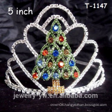 Lovely colored rhinestone christmas tree crown