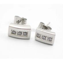 Prata 316L brincos quadrados de aço inoxidável com cristais