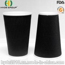 16 Unzen schwarz Ripple Wand Papier Kaffeetasse (16oz)