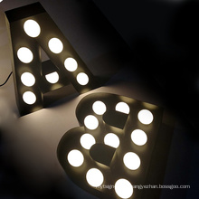 3D Advertising Front Lighting Led Channel Marquee Bulb Letters Lighted Signs Electrical Business Logos