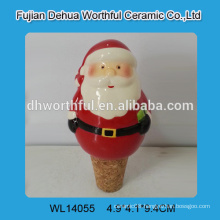 Cute ceramic wine stoppers with santa design for 2015 christmas decoration
