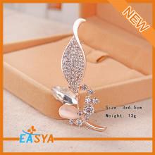 Fashion Design Crystal Inset Leaf Type Brooch Corsage For Unisex