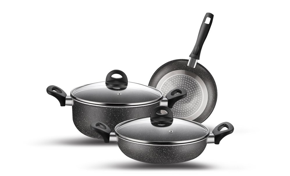 5pcs Alumínio antiaderente Coating Cookware Set