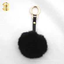 Factory Supply Kaninchen Pelz Schlüsselanhänger mit hochwertigem Lederband und Metall Ring