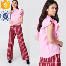 Venta caliente camisa de verano sin mangas del volante del algodón rosado de la blusa Fabricación al por mayor de las mujeres de la manera de la ropa (TA0035B)