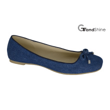 Mulheres Jean lona com Bow Flat Ballet Shoes