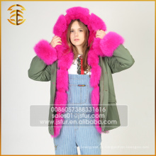 Garantia de qualidade Casaco com capuz para mulher Fox Faux Fur Parka