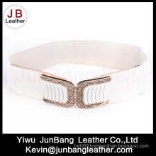 Womens Wide Elastic Cinch Belt Waist Trimmer Stretch Buckle Belt