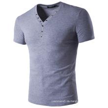 Herren Baumwoll T-Shirt, Kurzarm, V-Ausschnitt